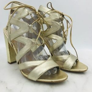 SAM EDELMAN Yardley Gold Leather Block Heels ~ 8.5